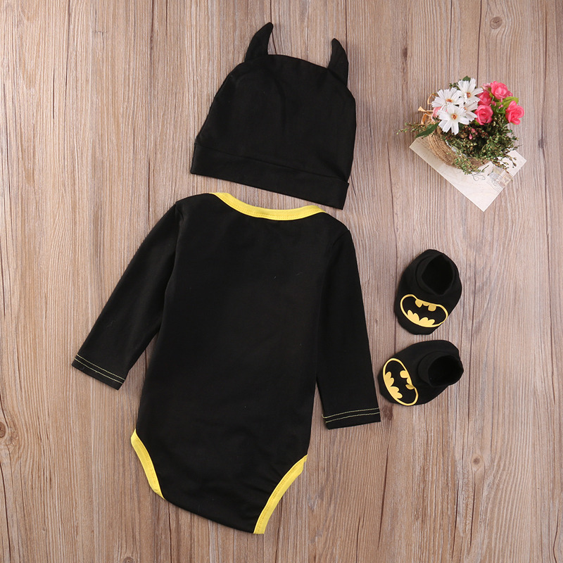 Summer Autumn Cute Batman Cotton Boys Rompers Printed Batman Baby Boys Clothes Rompers with Shoes Hat Black 0-24 Months 2