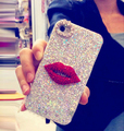 Moda bling glitter sexy red lip case para iphone 6 6 s 7 7 mais 5 5S SE Espumante Diamante Rígido PC Tampa Do Telefone Móvel Capa Coque