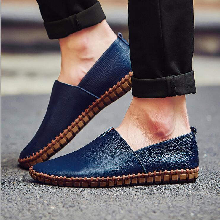 Genuine Cow leather Mens Loafers 2017 Fashion Handmade Moccasins Leather Men Flats Blue Slip On Men's Boat Shoe PLUS SIZE 38~47 genuine leather men loafers large size 38 47 slip on handmade mens boat shoes comfortable spring autumn formal male flats