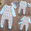 Chapéu de Bebê recém-nascido Meninos Meninas playsuit Romper Jumpsuit Outfit Setas Imprimir Roupas