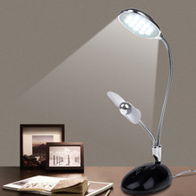 2 in 1 Multi-Power source Rechargeable USB Powered DC 5V 3W 13 LED Light Table Lamp with Flexible 360angle Fan