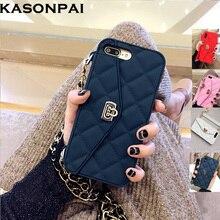 Funda billetera de silicona suave de lujo de KASONPAI para iPhone 7 6X8 S 6 Plus cartera con ranura para tarjetas funda de teléfono con cadena larga