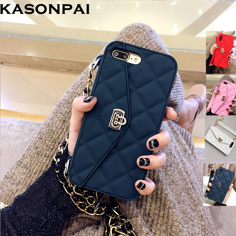 KASONPAI Luxury Fashion Soft Silicone Wallet Case For iPhone X 8 7 6S 6 Plus Card Slot Handbag Purse Phone Cover With Long Chain