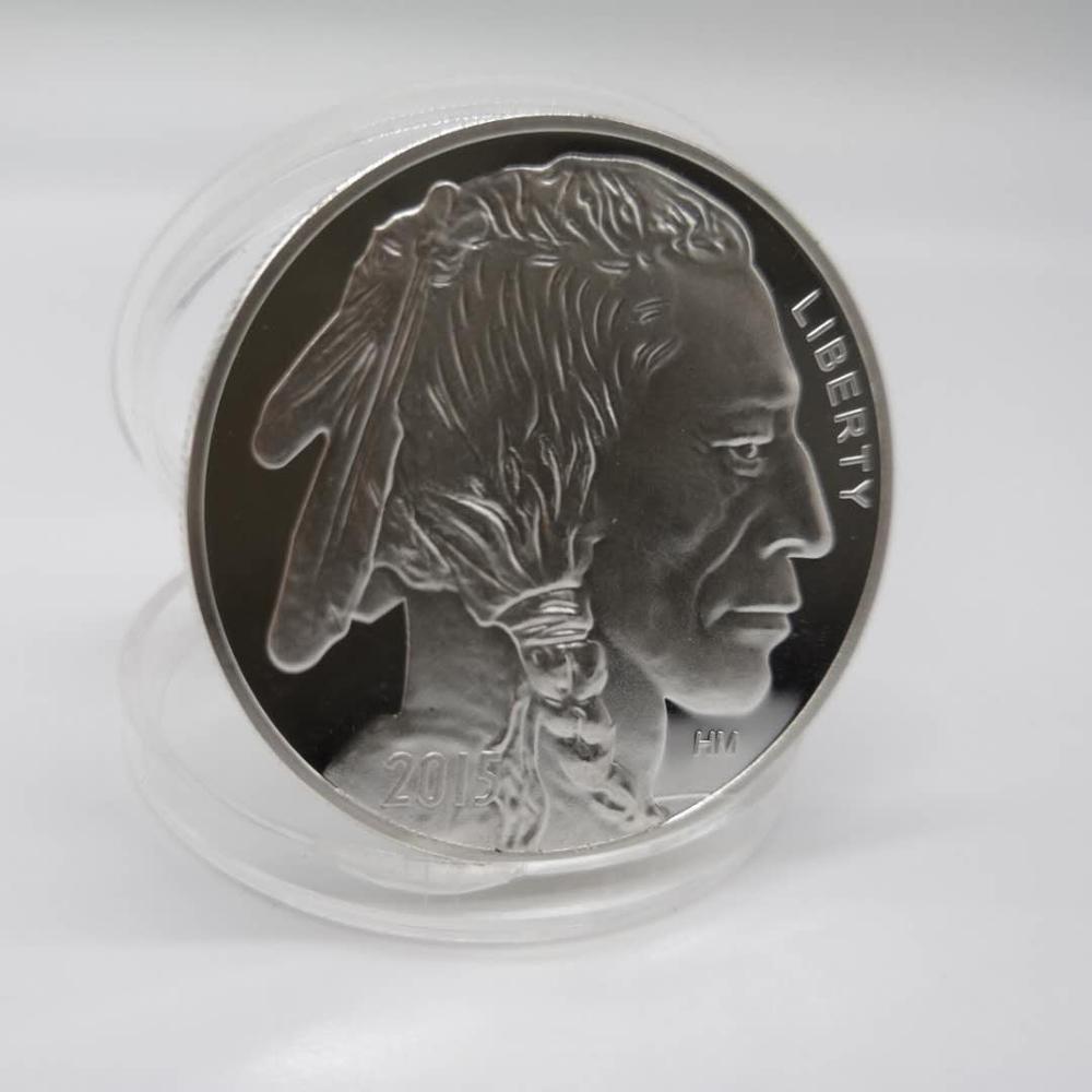 Серебряная круглая ограниченная американская монета, 1 унция 999 в индийском стиле/Буффо Бу, американская монета, Прямая поставка, 2015