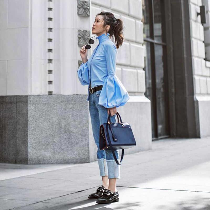 9ad1e8a6d00a9 ... Long Wide Lantern Sleeve Blue Blouse Women Button Down Blouses Shirts  Female 2018 Autumn Winter Fashion ...