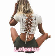 Lace up back sexy t-shirts for women crisscross fashion t shirt summer crop top hollow out hot female t-shirt tops tees Laipelar