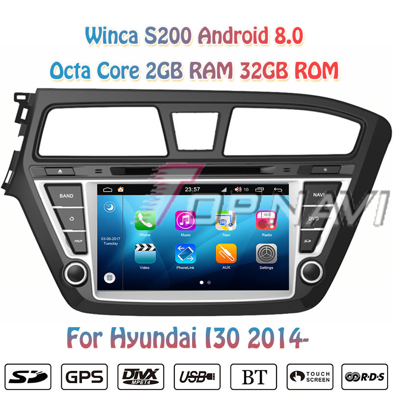 Topnavi Octa Core S200 Android 8.0 Car DVD Multimedia Player Audio for Hyundai I20 2015 Radio Stereo Double DIN GPS Navigation