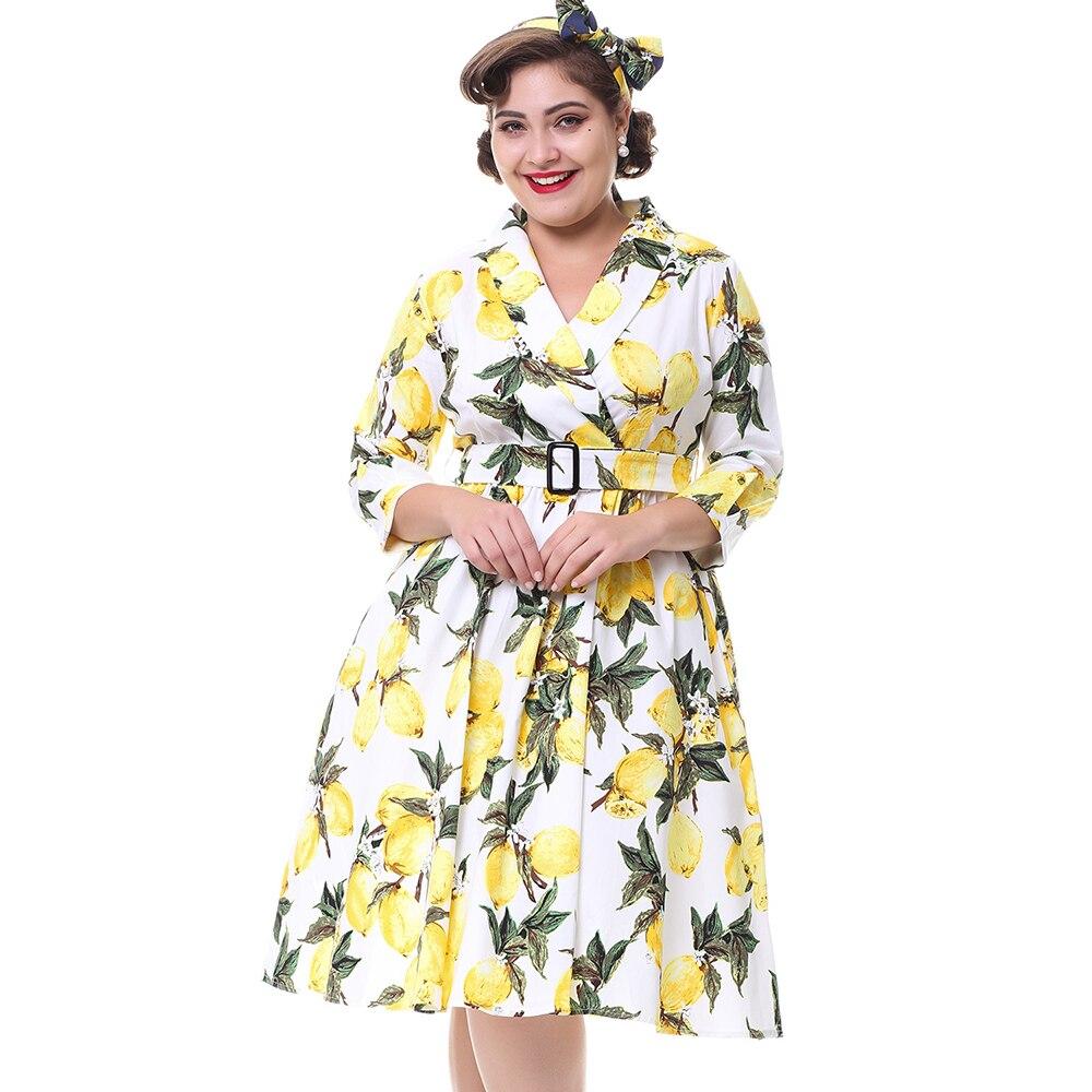 cbe843667dc Kenancy Plus Size Women Lemon Print Vintage Dress 3 4 Sleeves Belts Turn  Down Collar Retro Dress Party Swing 2017New Vestidos