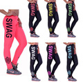 Women's Sexy Leggings SWAG  Letters Leggins Workout Pants Low Waist Trousers Fitness Modal Women Clothing