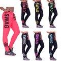 Letras GANHOS das mulheres Sexy Leggings Leggins Calças de Cintura Baixa Calças de Treino de Fitness Modal Roupas Femininas