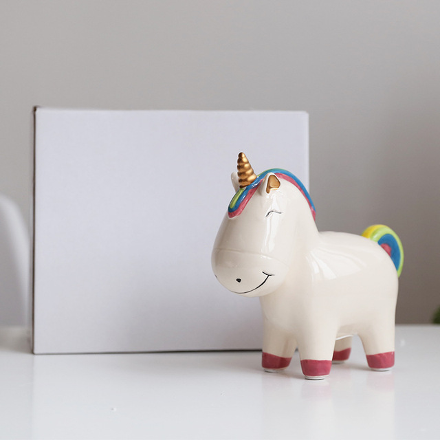 Kids Piggy Bank Cute Unicorn Money Boxes Home Decoration Christmas Gifts Ceramic Animal Coin Boxes Figurines Drop Shipping