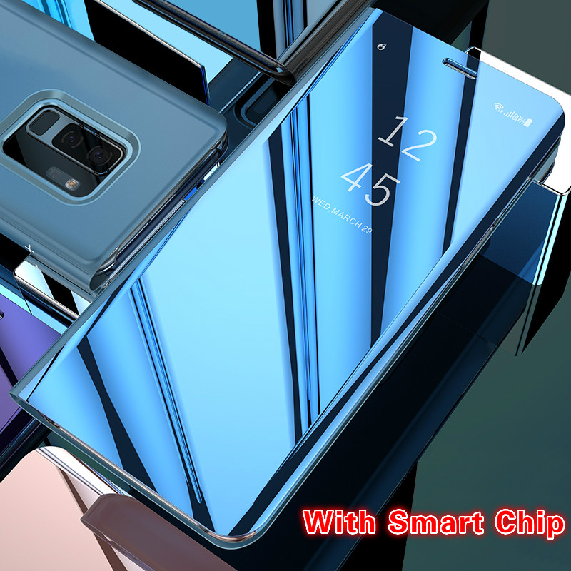 Touch Flip Standplatz-fall für Samsung Galaxy S8 S9 Plus S6 S7 rand S6Edge Note8 Note5 Anmerkung 5 8 Telefon Fall Smart Chip Spiegel abdeckung