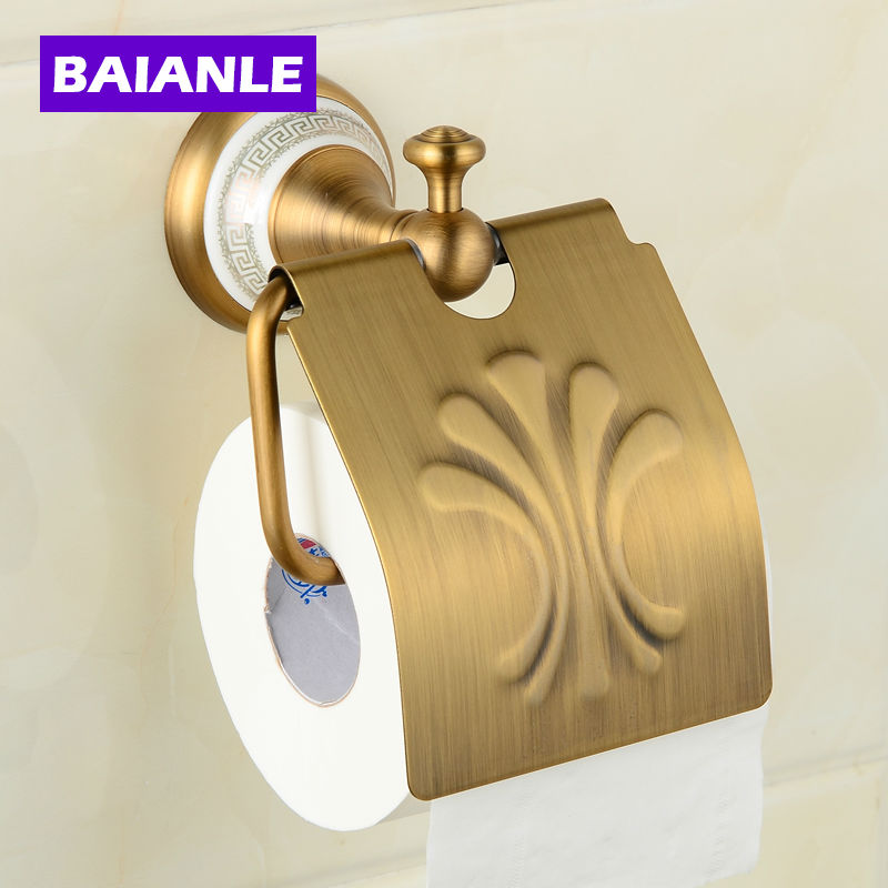 Free Shipping Ceramics Brass Wall-Mounted Paper Holder Bathroom Accessories Product Toilet Paper Holder free shipping wall mounted black brass toilet paper holder ceramic tissue box bathroom accessory toilet paper holder bracket087