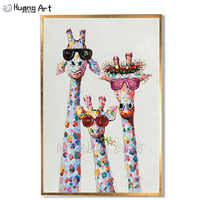 Cute Giraffe Family Painting 100% Hand painted High Quality Modern Giraffe Thickness Oil Painting for Decor Animal Wall Painting