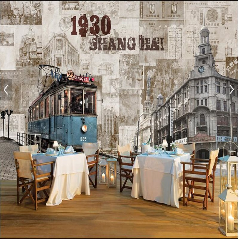 Buy 3d restaurant theme wallpaper retro for Cafe mural wallpaper