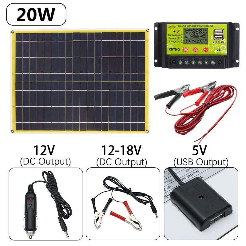 5V/12-18V 20W Monocrystalline Solar Panel Solar-Controller 300CM 3A Alligator Clip 2X Solar Mounting Bracket Fits
