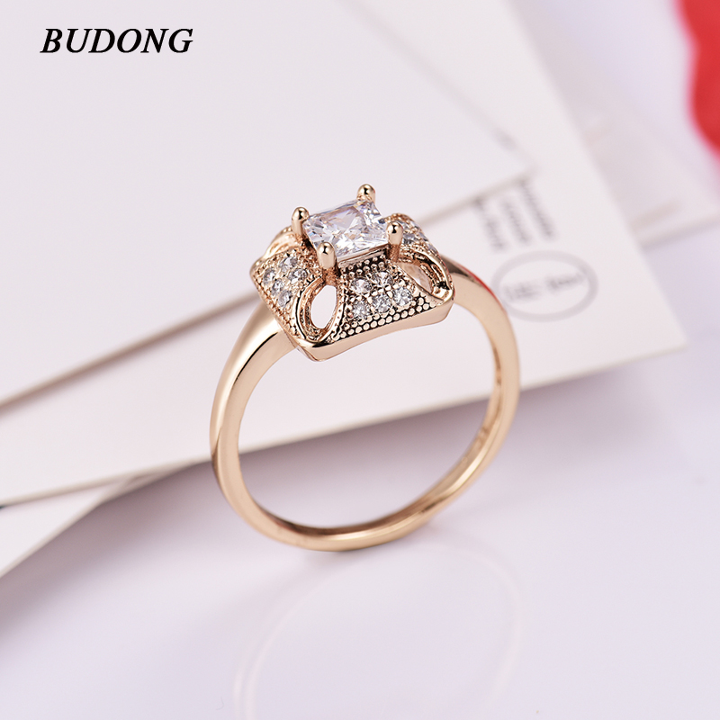BUDONG Infinity Finger Rings Gold-Color Engagement Wedding Rings for Women Cubic Zirconia CZ Vintage Lady Jewelry Bijoux XUA091