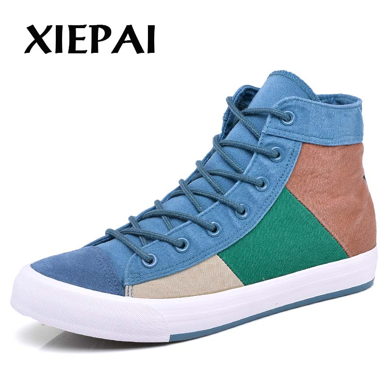 XIEPAI Men Casual Canvas Boots Platform Shoes Size 38-44 Patchwork Mixed Colors Designer Man Ankle High Sneakers