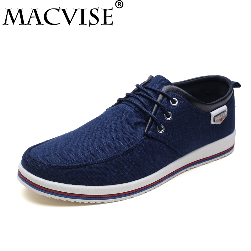 2018 New Arrival Mens Casual Denim Canvas Platform Fabric Shoes Lace-Up Breathable&light Flat Loafers Shoes Big Size 39-47