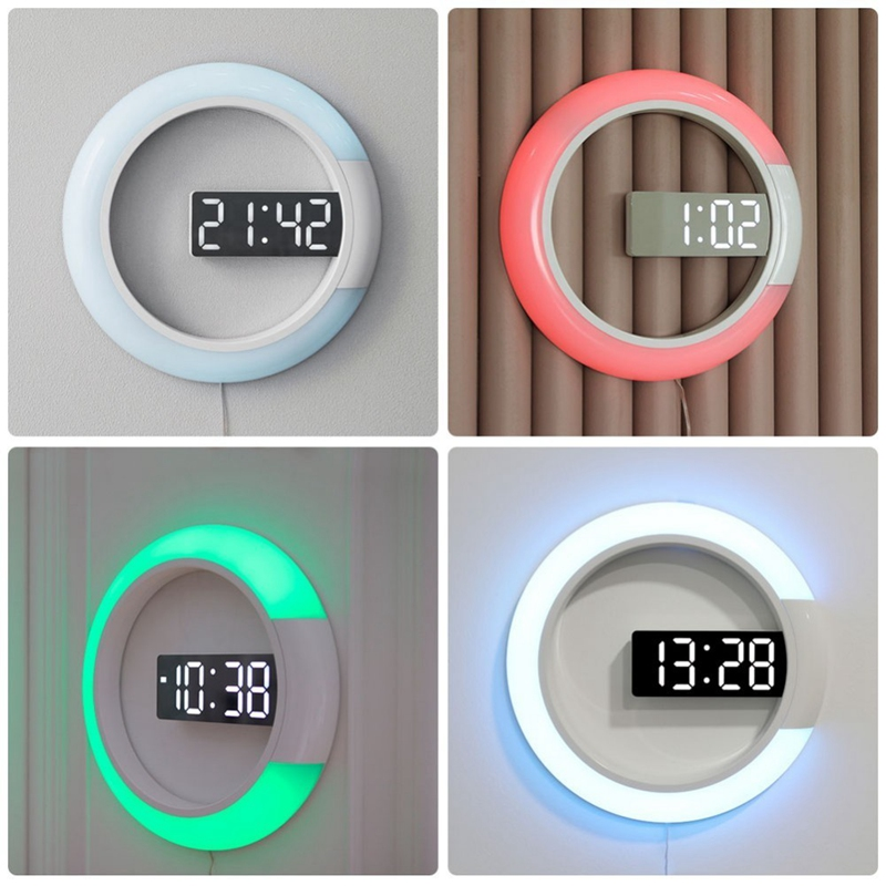 Led Mirror Hollow Wall Clocks Home Decor Multi-Function Alarm Temperature Ring Light Digital Wall Clock