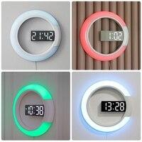 Led Mirror Hollow Wall Clocks Home Decor Multi Function Alarm Temperature Ring Light Digital Wall Clock