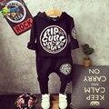 Ropa de los muchachos de la Ropa de Los Niños Sudadera de Manga Larga + Pantalones Del Muchacho de la Ropa de Corea Ropa de Moda Otoño 2015 3-8 de Edad