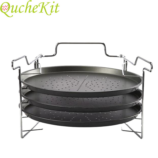 3 Piece Non Stick 12inch Carbon Steel Pizza Trays 1