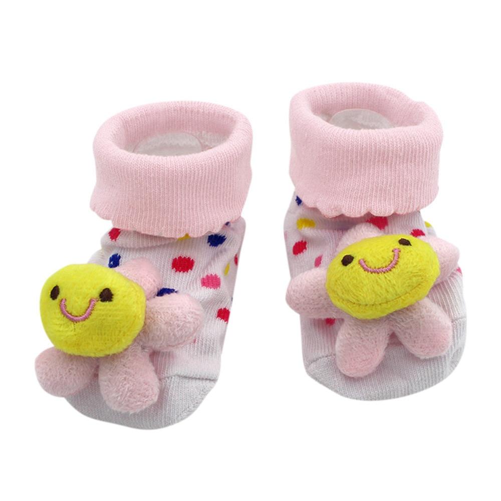 1pair Cute Infant Socks Cotton Baby Kids Toddler Anti Slip With Bell Floor Socks