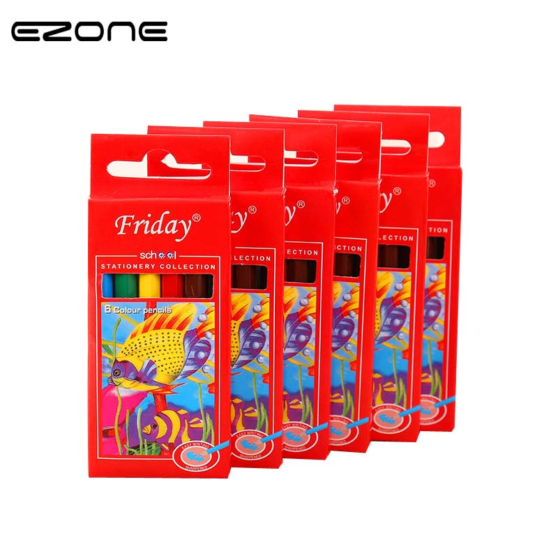 EZONE 6 Colors Drawing Pencil Kawaii Wooden Colored Pencil Wood Rainbow Color Painting Pencil For Kid School Graffiti Drawing