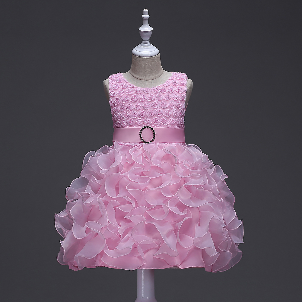 Sleeveless Kids Dresses Beading Top Rhinestone Elegant Party Cupcake Evening Gowns Children Wedding Dress for Girls ball gowns for children pageant teenage girls clothes top grade kids wedding dresses ivory beading diamond wedding dress