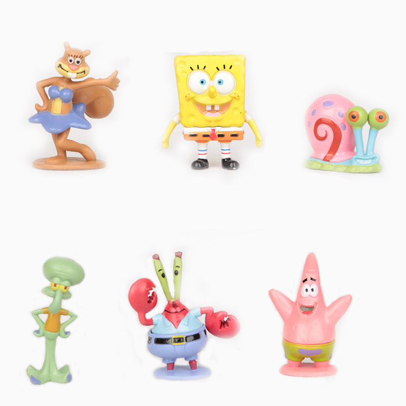 6st / set Svamp Bob Spongebob Miniatyrer PVC Actionfigurer Sandy Patrick Star Anime Figurines Collectibles Dockor Leksaker Present # C