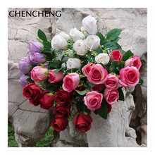 Фотография 12 Heads Bouquet of Roses With Leaf Artificial artificial flowers bouquet Of Flowers Silk Wedding floral hand-held CHENCHENG