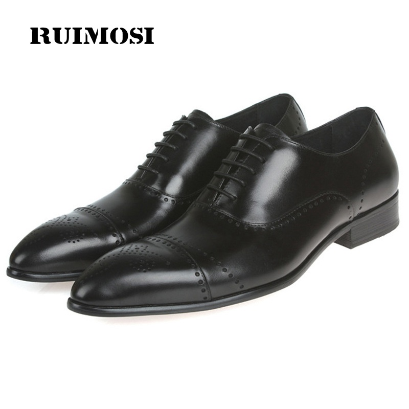 RUIMOSI Vintage Man Dress Semi Brogue Shoes Genuine Leather Cap Top Oxfords Pointed Men's Breathable Male Flats For Bridal JD89