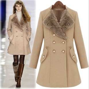 Rabbit Fur Lapel 35 Wool Woolen Coat Double Ted Long Sleeves Slim Winter Dress