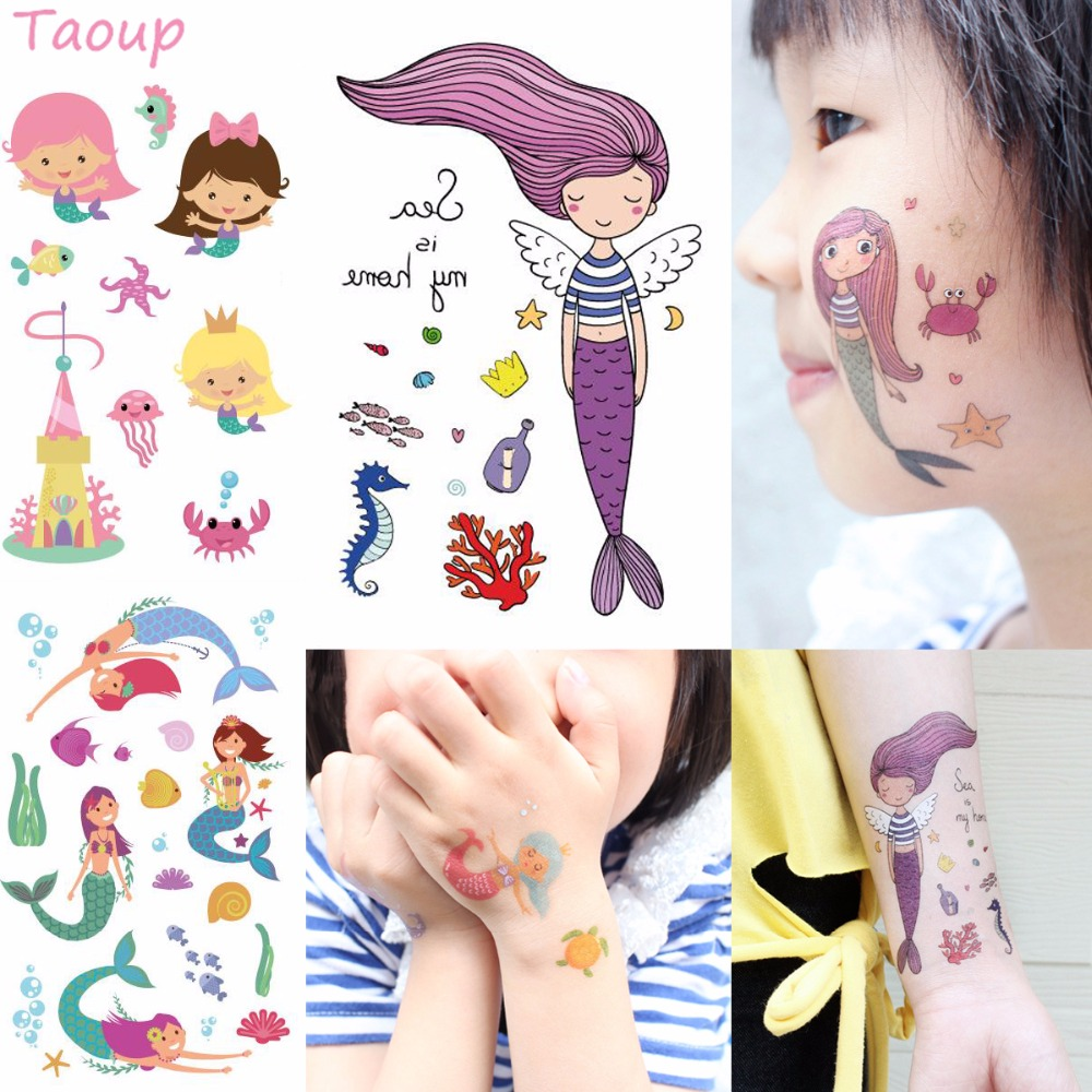 Taoup 1pc Cartoon The Little Mermaid Stickers Party Decor The Little Mermaid Happy Birthday Party Decor Kids Girls Babyshower
