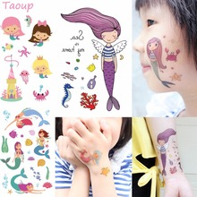 Taoup 1pc Cartoon The Little Mermaid Stickers Party Decor Happy Birthday Kids Girls Babyshower