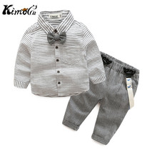Kimocat newborn baby clothes gentleman baby boy grey striped shirt+overalls fashion baby boy clothes