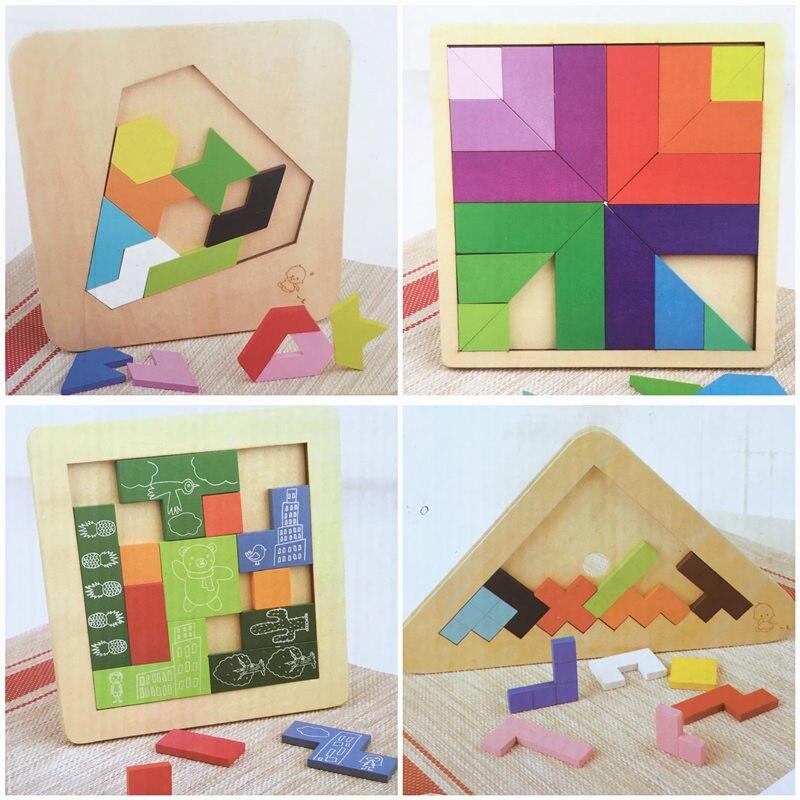 Baby Educational Toys Triangle/Diamon/Block Many Kinds of Play Geometric Assembling Blocks Tetris Slide Wooden Birthday Gift