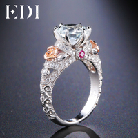 EDI 2ct Natural Topaz Gemstone Crystal 925 Sterling Silver Engagement Ring For Women Flower Bands Fine Jewelry