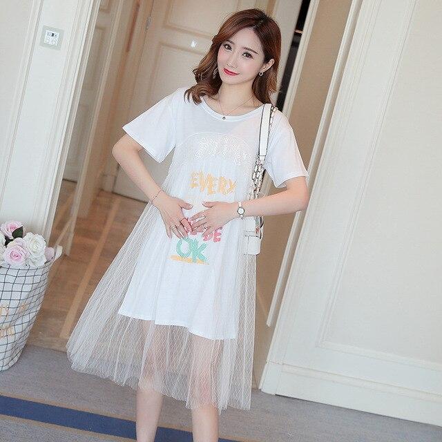 0a11b756a57e summer new maternity dress short-sleeved dress lace silk yarn mosaic Korean  printing pregnant women dresses pregnancy clothes