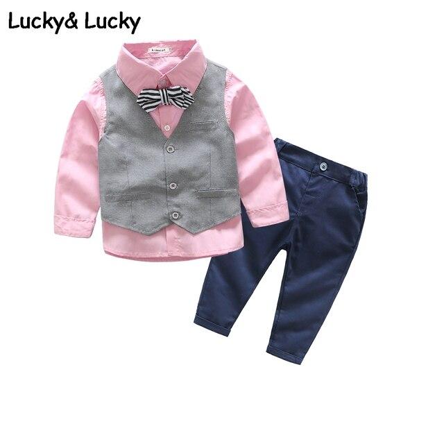 89f7eec0a4afe Bébé garçons enfants vêtements gentleman bébé garçon vêtements chemise rose  + gilet + pantalon décontracté à