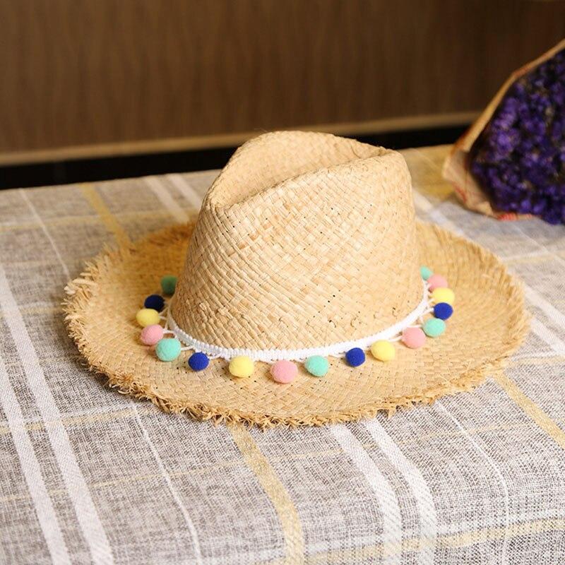 Donne di estate Cappelli di Sun Dolce Nappa Colorata Palle cappelli di  Paglia Delle Ragazze Vintage Beach Cappelli Panama Chapeu Feminino Fedora  Jazz in ... b39403ca7934