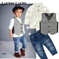 Nova roupa dos miúdos meninos roupas casuais definir 3 pçs/set moda traje para as crianças camisa + colete + calça jeans