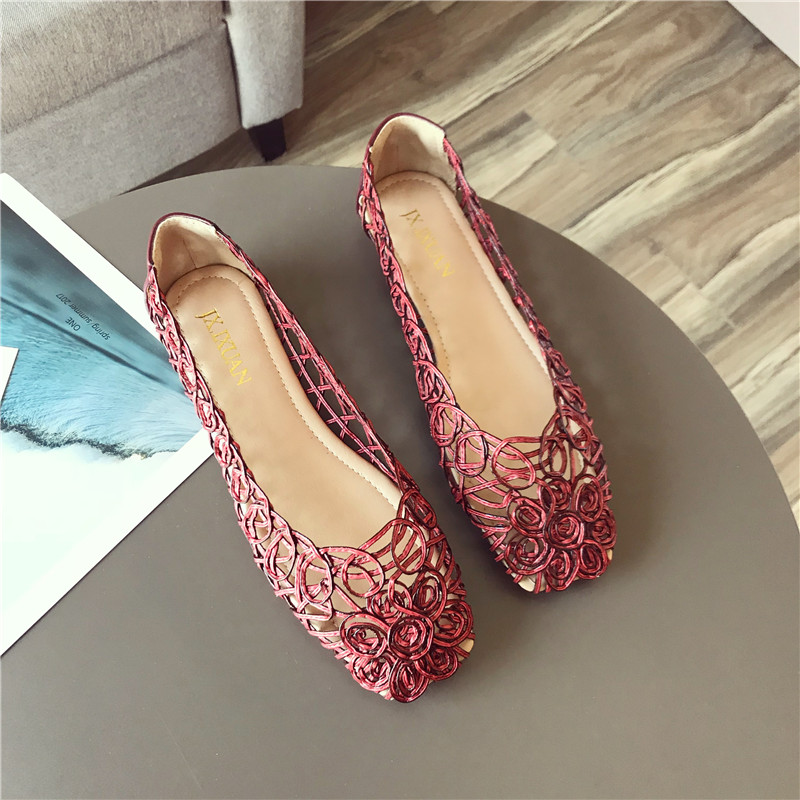 Swyivy apartamentos femininos sapatos oco respirável 2018