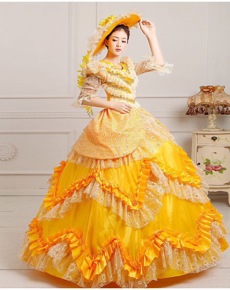 Luxury lace golden yellow flowers ruffled medieval dresswith hat luxury lace golden yellow flowers ruffled medieval dresswith hat renaissance gown princess cosplay victorianbelle ball gown in movie tv costumes from mightylinksfo