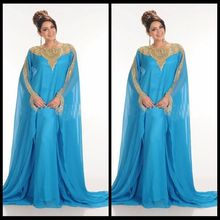 Charming Blue Custom Made Formal Occasion font b Dress b font Scoop Regular Long Sleeves Gold