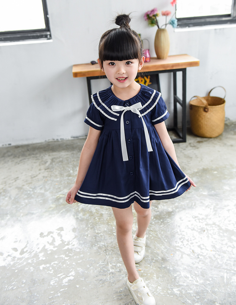 Summer Preppy style sweet Girls Dress Lovely short Sleeve sailor collar bowknot Kids Dress Baby Girl Clothes Princess Dresses