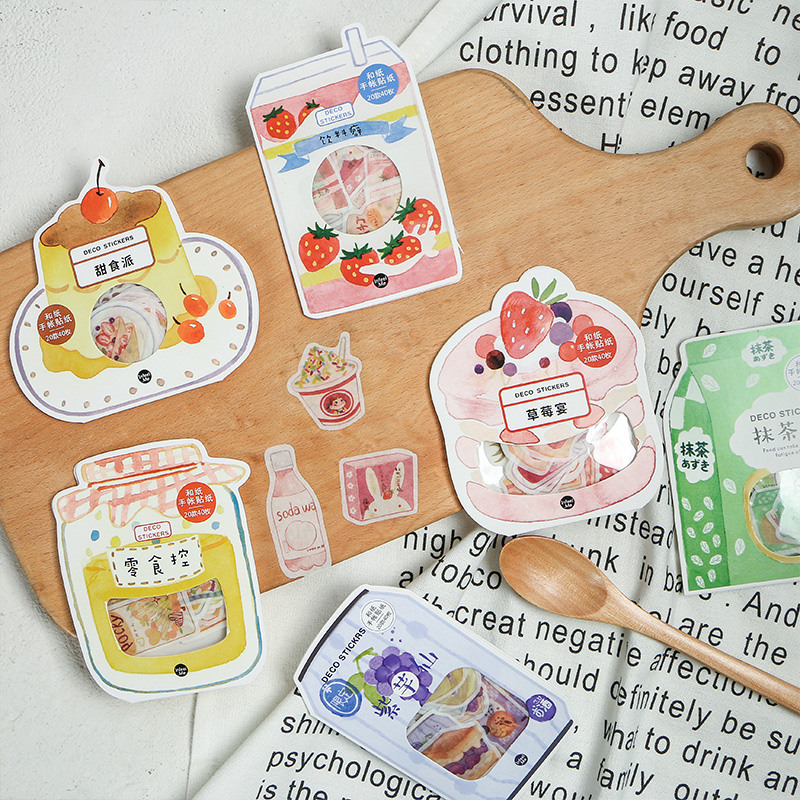 40pcs/pack Japanese Style Drinks Cute Paper Stationery Sticker Set Kawaii Adhesive Sticker Diy Decoration Label For Scrapbooking