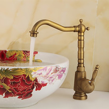 Бесплатная доставка 360 Вращение Античная кухонный кран с наивысшего качества бронзовый кран раковины горячей и холодной латунные краны кухня