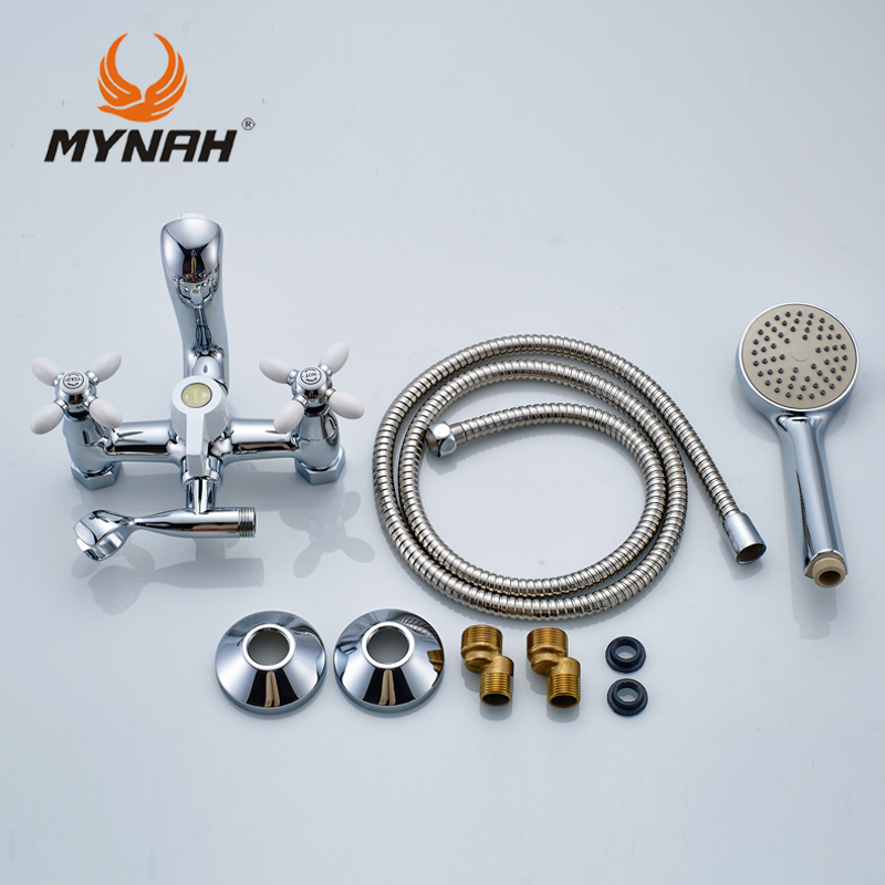 Купить с кэшбэком MYNAH Russia free shipping classic shower faucet bathroom faucet dual control multi color selection